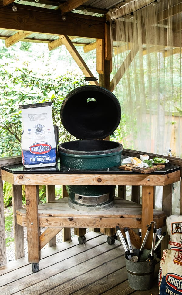Built in Big Green Egg on a deck in the Pacific Northwest with Kingsford Original Charcoal