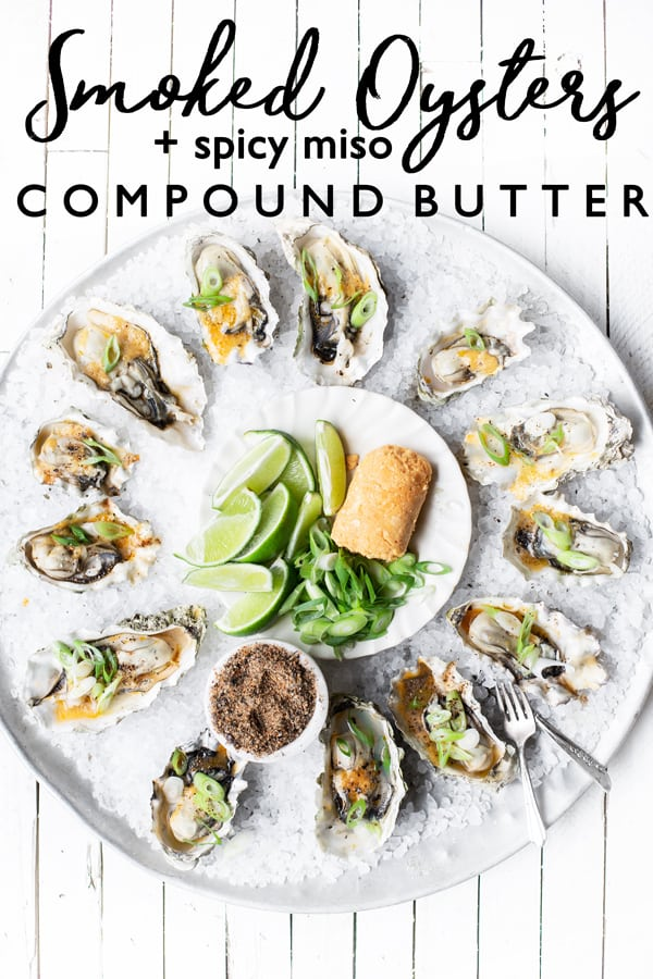 Smoked Oysters with Spicy Miso Butter is a great grilling recipe for easy entertaining by Major League Baseball team, the Seattle Mariners! Seattle mariners | smoked oysters | grilled oysters | miso paste | miso butter | grilled oysters in shell | compound butter