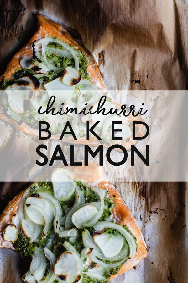 Chimichurri Baked Salmon is an easy salmon recipe just perfect for busy weeknights! easy salmon recipe | baked salmon | weeknight dinner | chimichurri fish