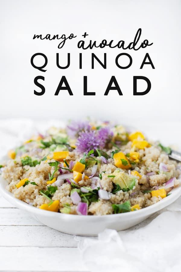 Mango Avocado Quinoa Salad mixes juicy mangoes, creamy avocado with a bright lemon dressing and loads of fresh herbs. A delish way to use up leftover quinoa! Mango Avocado Quinoa Salad   quinoa recipe   how to make quinoa salad   mango salad    quinoa salad dressing   easy vegan quinoa salad recipe