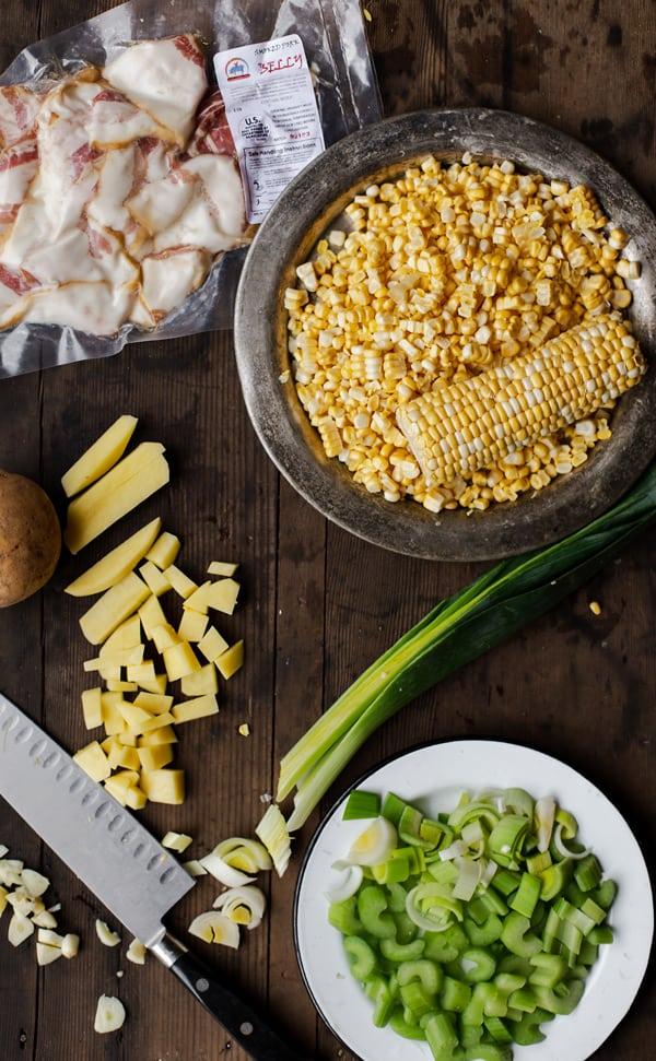 Bacon Corn Chowder ingredients - potatoes, leeks, garlic, bacon and corn