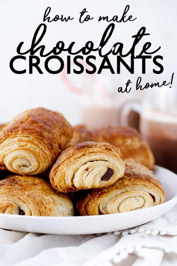 Chocolate Croissants, or pain au chocolat in French, are a special treat to start making with your family as a holiday tradition over the holidays and a delicious make ahead idea for breakfast any time of year! chocolate croissant recipe | how to make chocolate croissants | christmas traditions | cooking with kids | make ahead christmas breakfast #ado
