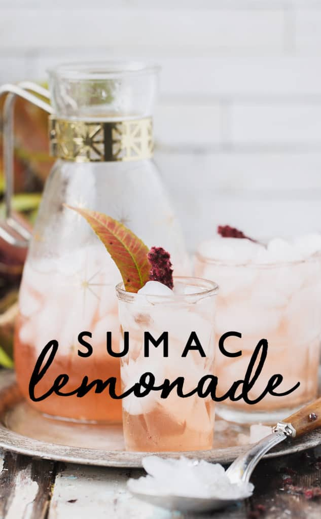 Sumac Lemonade brewed from foraged sumac berries and cool water tastes like lemonade without any lemons!  Lightly floral, tart and refreshing it's delicious as-is or used as a mixer in cocktails and mocktails. Sumac spice | sumac lemonade foraged from sumac tree | sumac recipes | sumac benefits #sumac #foraging #recipe