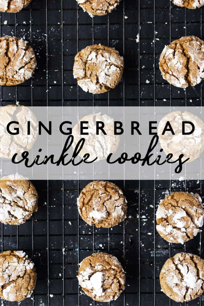 Gingerbread Crinkle Cookies are a nicely spiced chewy cookie with crisp edges and crunchy icing-like crinkle coating perfect for Christmas! Christmas cookie recipe | ginger crinkle cookies | molasses crinkle cookies | crinkle gingerbread cookies |