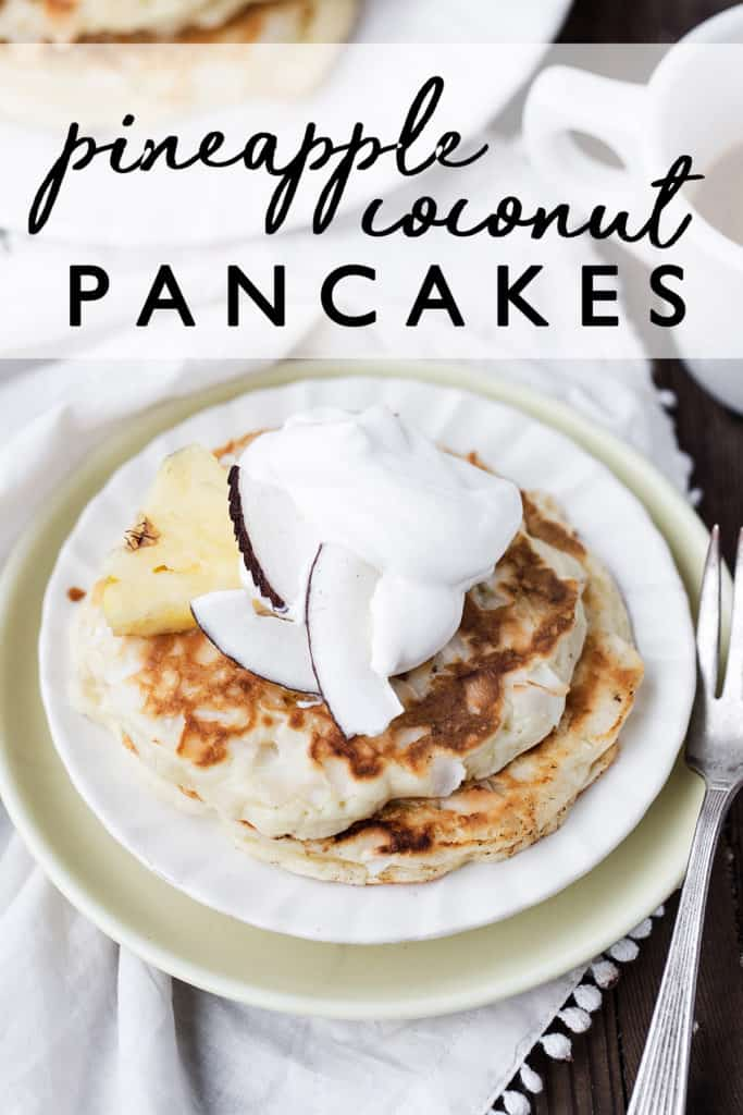 Bruleed Pineapple Coconut Pancakes are fresh and fruity with a little bit of toasted coconut goodness and a crispy caramelized sugar topping. A great twist on everyone's favorite classic breakfast!  pina colada | pancakes recipe from scratch | pineapple coconut flavored pancakes