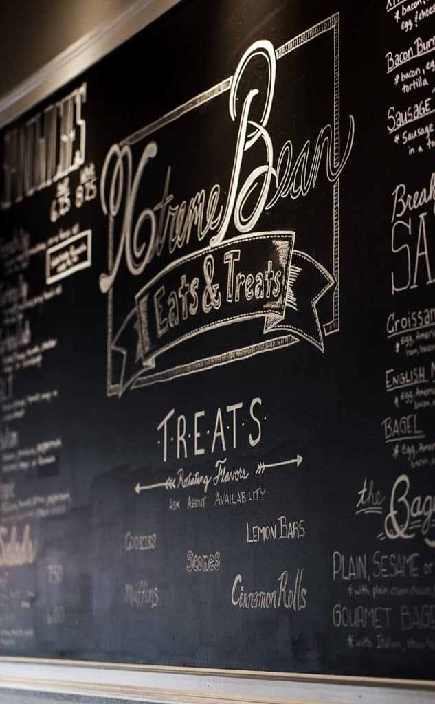 Extreme Bean hand lettered chalk menu