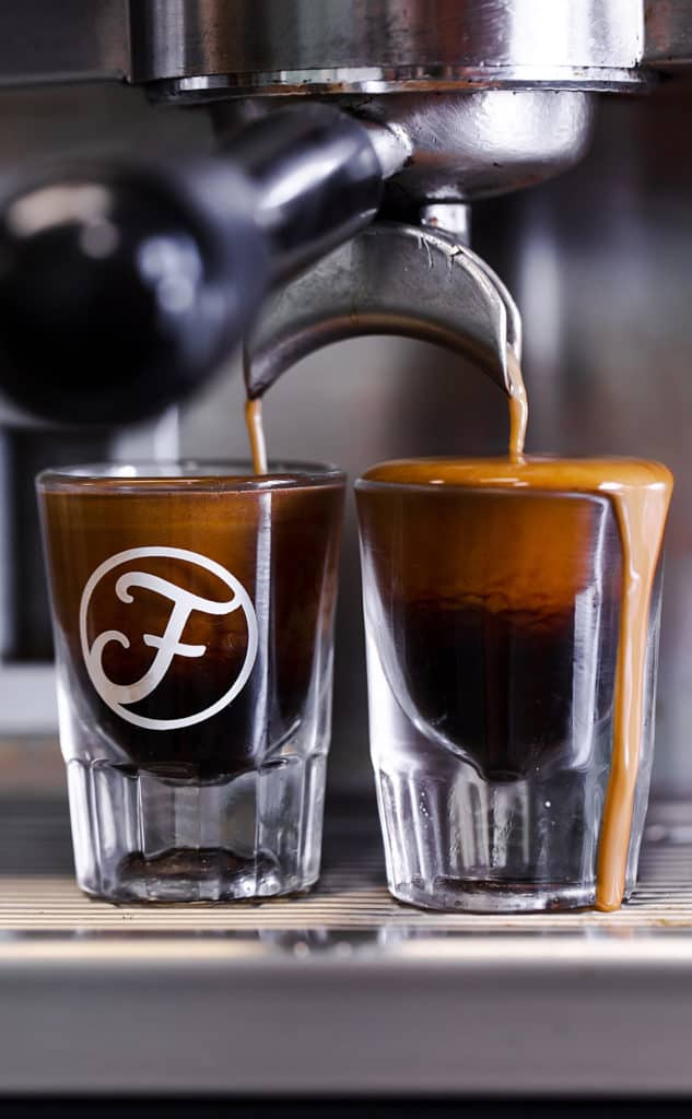 Perfectly poured espresso shots