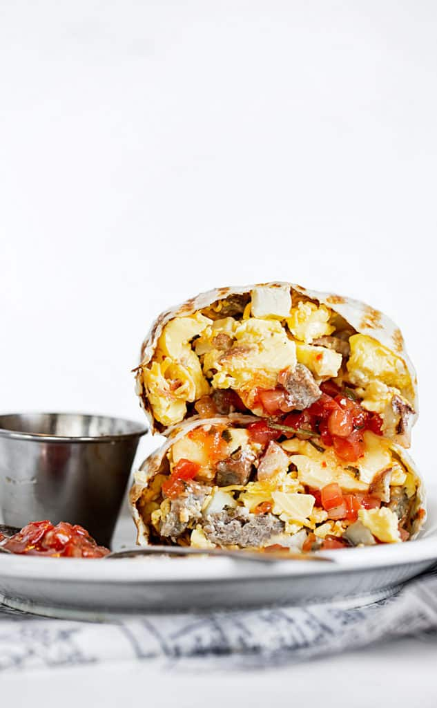 Stacked grilled breakfast burrito