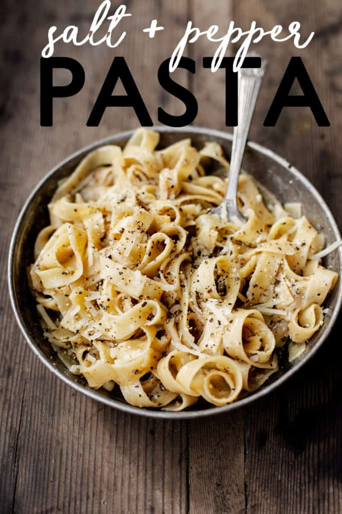 Simple Salt and Pepper Pasta turns simple pantry staples into a decadent lunch, quick comforting dinner, or an impressive late-night snack! cacio e pepe | cacio e pepe recipe | black pepper pasta | quick easy pasta meal