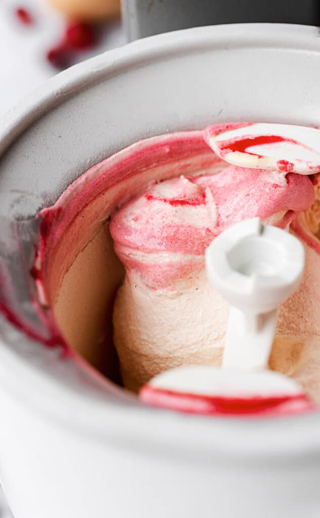 Swirls of cranberry in homemade ice cream