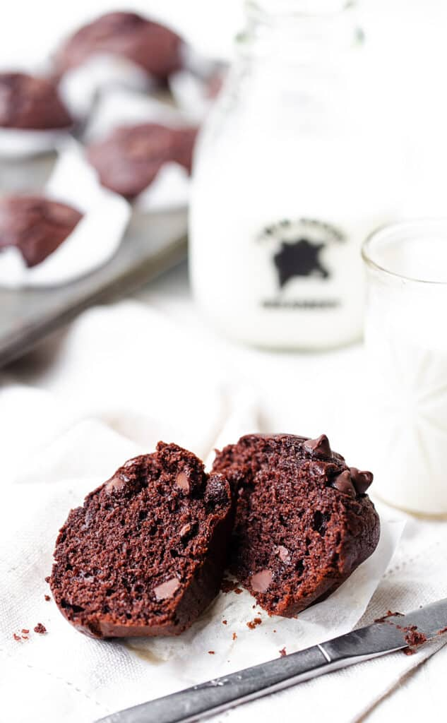 Inspired by a jumbo box store chocolate muffin version these light, fluffy Double Chocolate Chip Muffins are great for kids! chocolate chip muffins | muffin recipe | chocolate muffin recipe