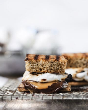 close up of banana bread s'more with gooey caramel