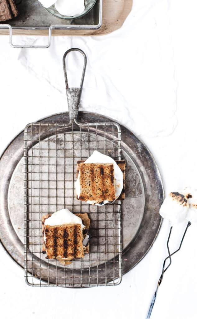 Toasted banana bread smores and toasted marshmallows