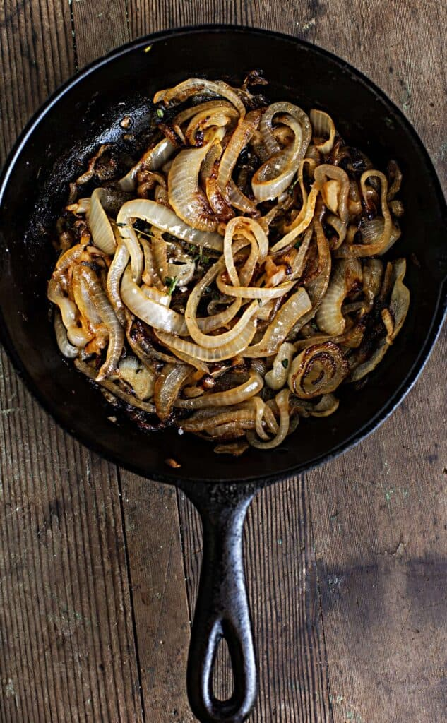 caramelized onions in a cast iron pan