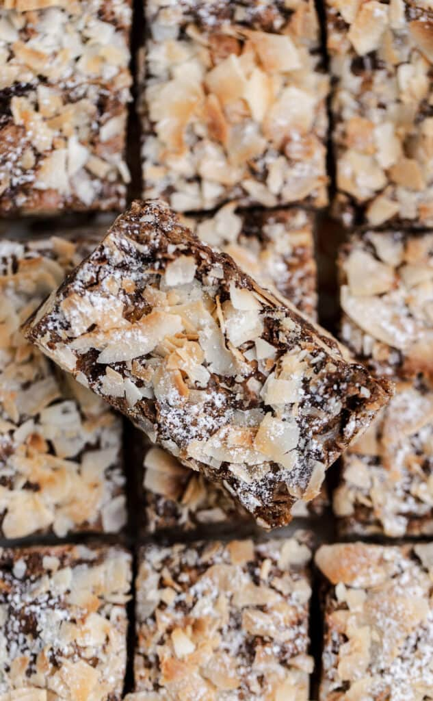 closeup of toasted coconut chocolate bars