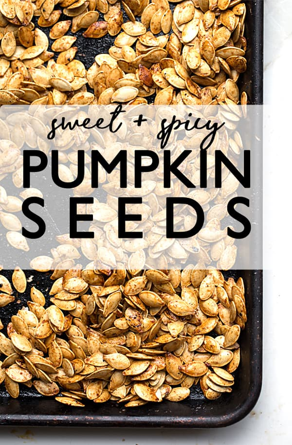 Sweet Spicy Roasted Pumpkin Seeds coated in savory brown sugar caramel that cools into  candy-like roasted pumpkin seed clusters. roasted pumpkin seeds | pumpkin seeds recipe | candied pumpkin seeds | savory caramel coated seeds