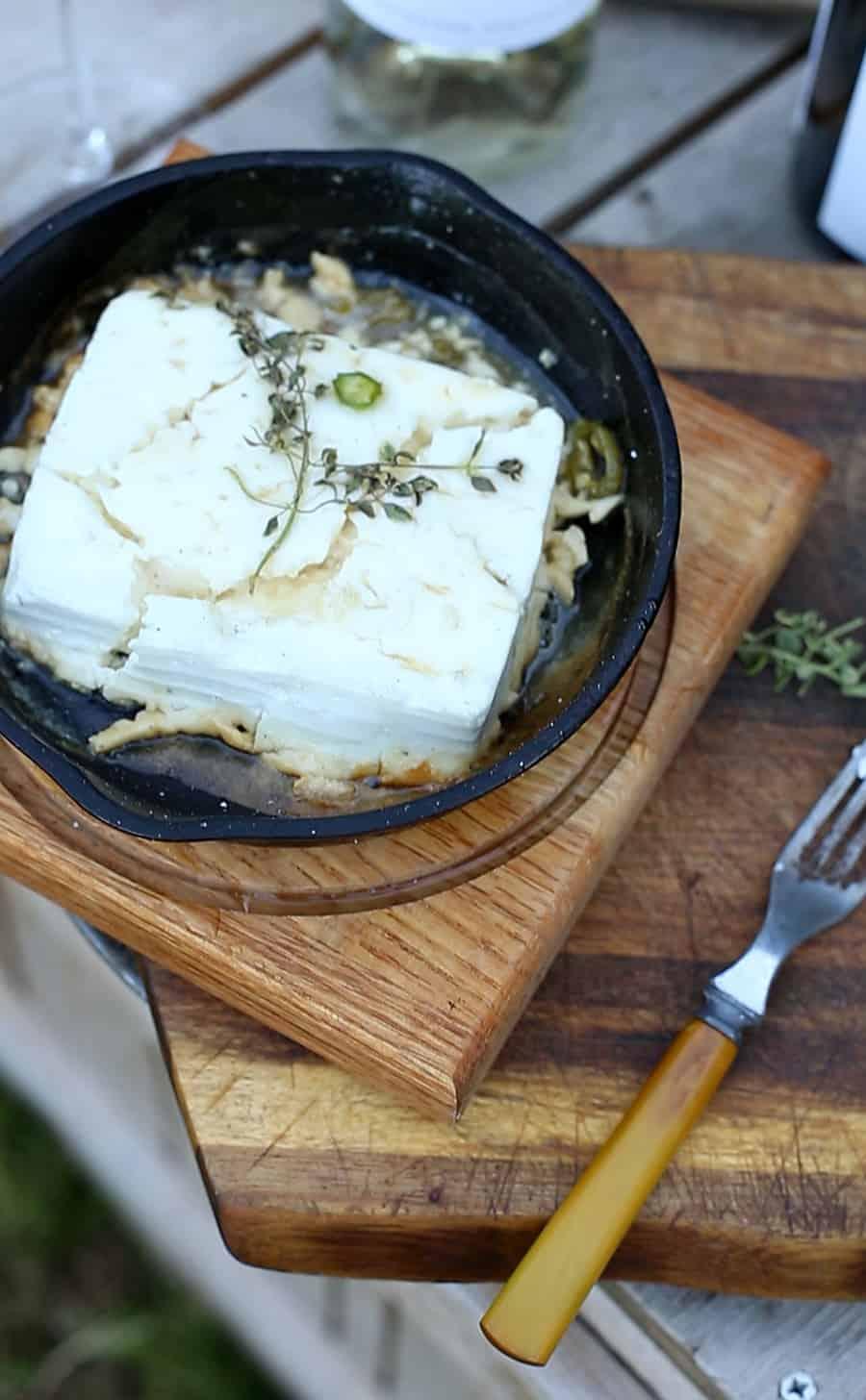 Creamy skillet roasted hot feta dip