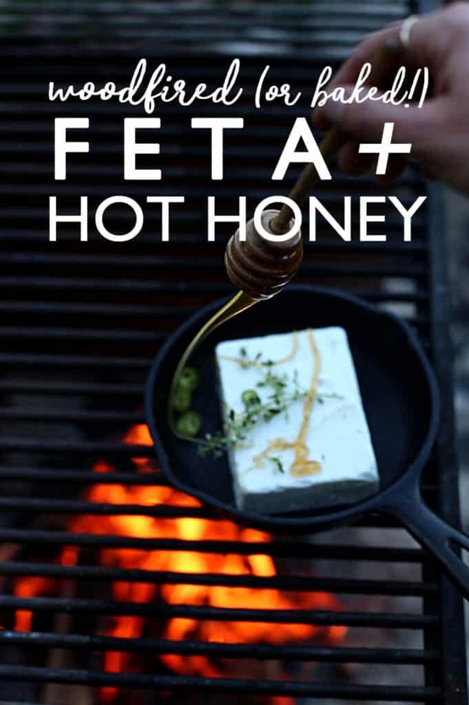 Hot Honey Fire Roasted Feta Dip is an easy appetizer with feta cheese that is candy-like and golden brown on the outside, warm, soft and custardy on the inside.  hot honey | baked feta | camping meals | easy appetizer recipes
