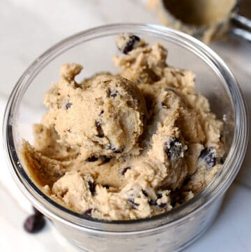 edible chocolate chip cookie dough in a bowl