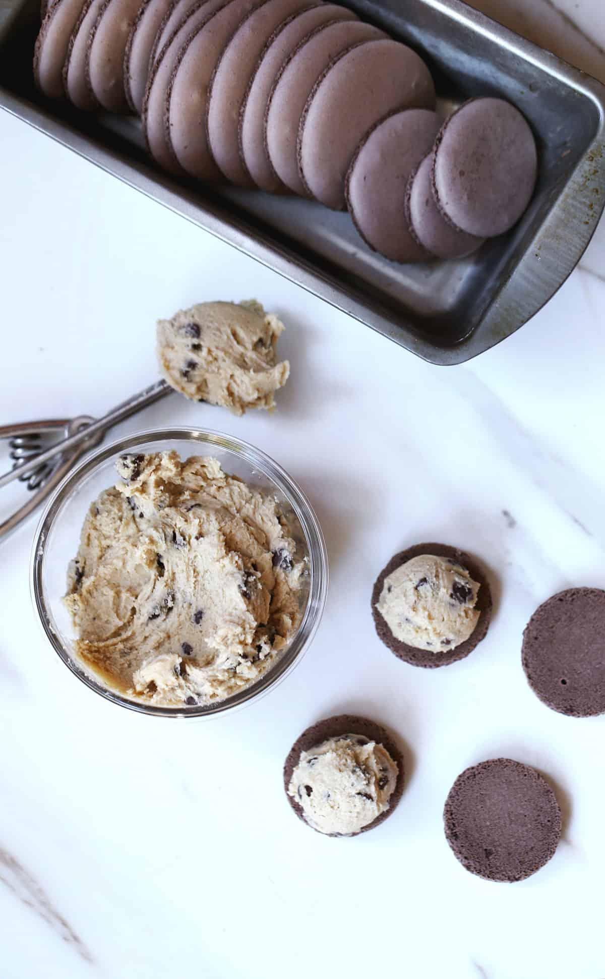 edible chocolate chip cookie dough cookie filling