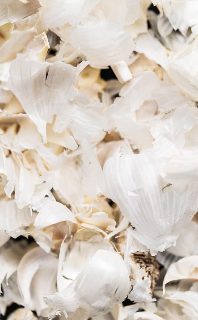 papery garlic peels
