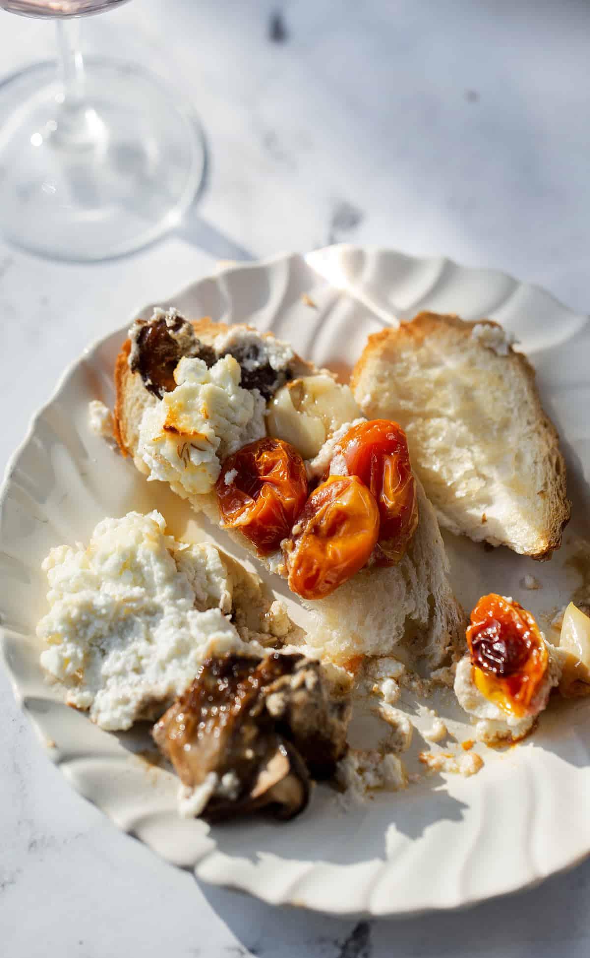 baked bruschetta with wine