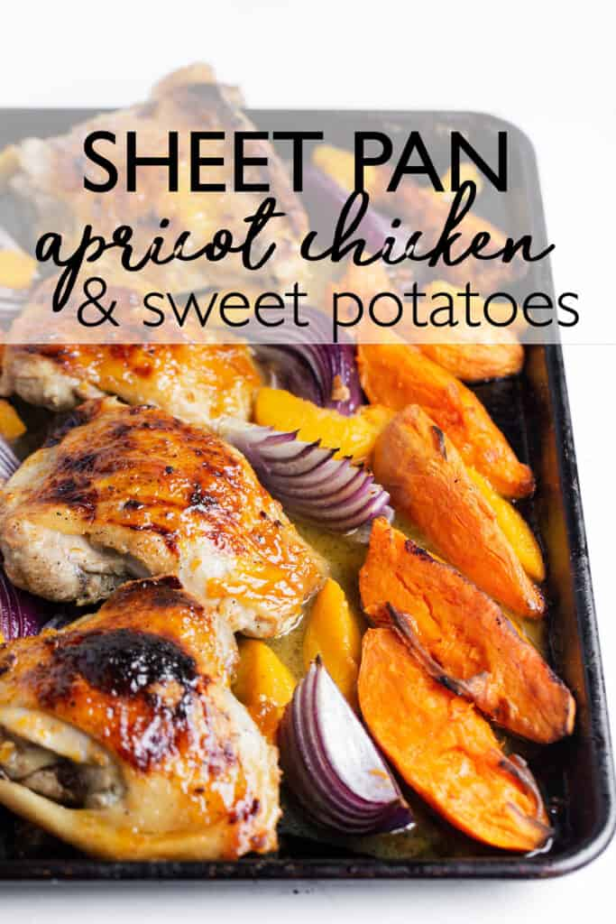 Sheet Pan Apricot Chicken and Potatoes is a quick, easy sheet pan meal that turns a few simple ingredients into an amazing meal in only 30 minutes!   baked chicken thighs | apricot chicken | sheet pan chicken recipes