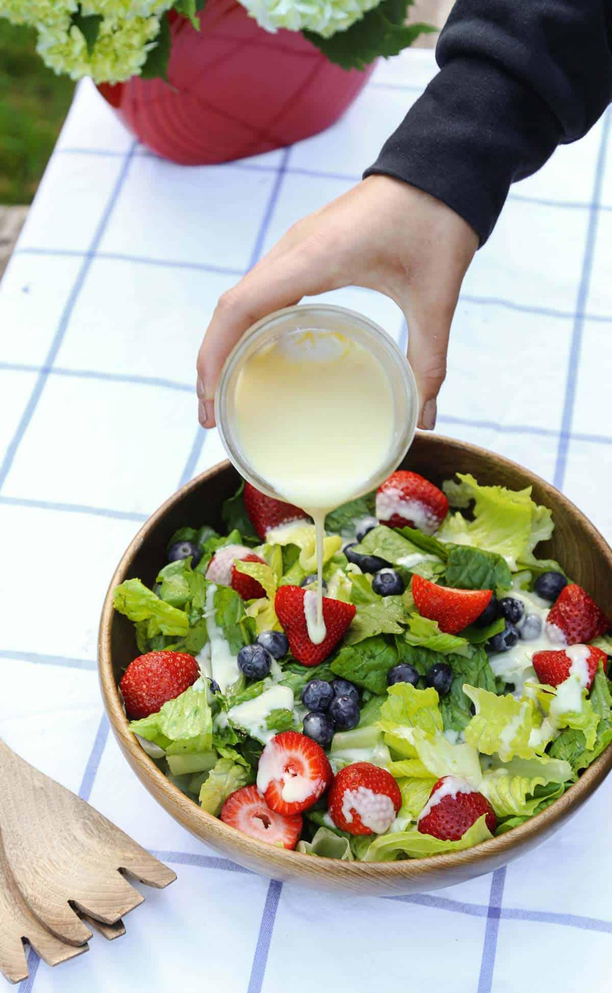 Lemon salad dressing on a cold summer salad