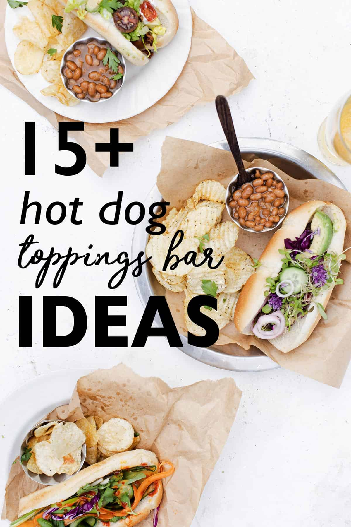 This Ultimate List of Hot Dog Toppings Ideas makes it so easy to throw together an easy hot dog bar food station at your next party! hot dog toppings | hot dog ideas | hot dog bar | gourmet hot dog recipes | hot dog menu ideas