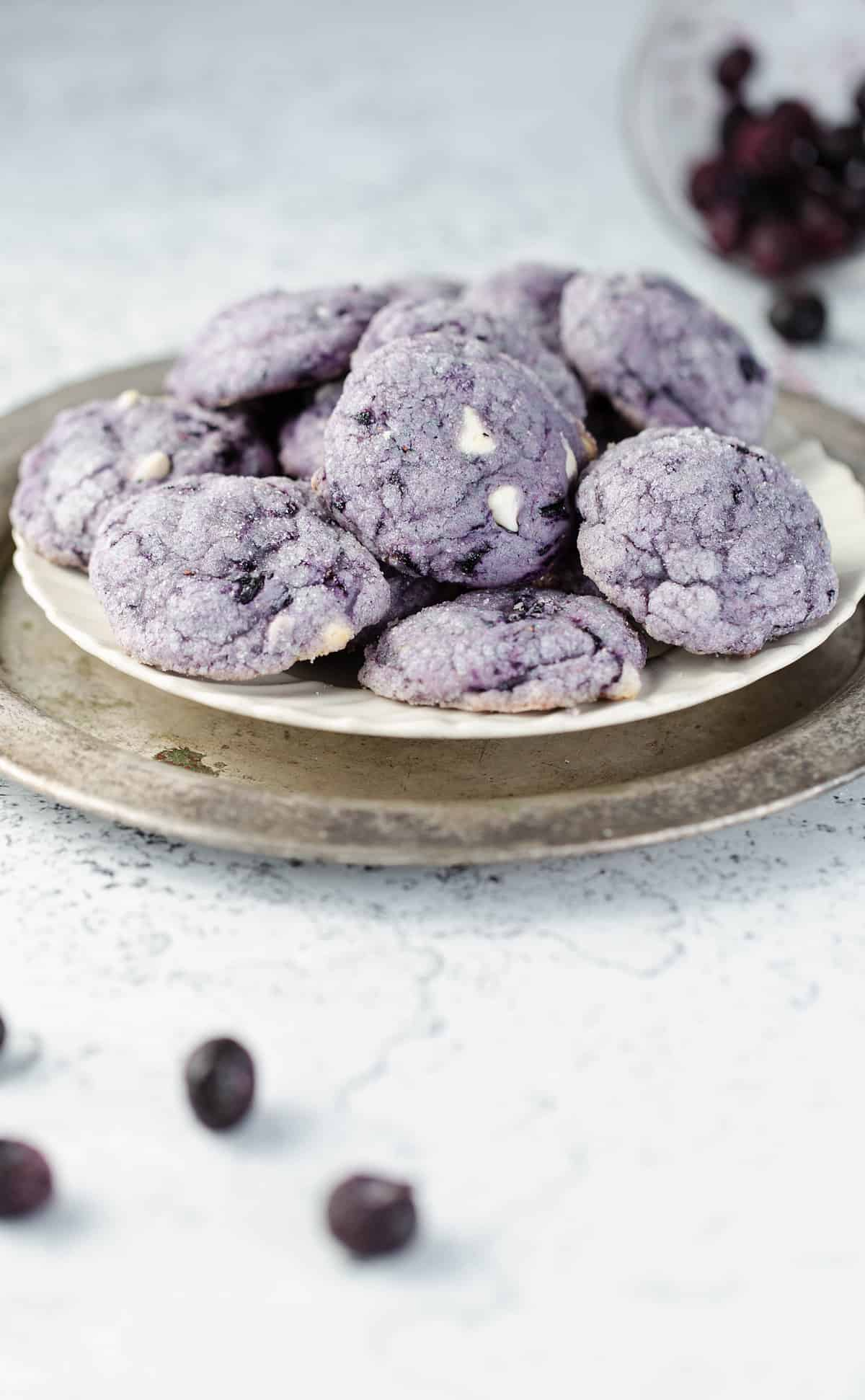 Vibrant Chewy Blueberry Cookies are a naturally colored purple cookie bursting with fresh blueberry flavor from fresh or frozen berries!  blueberry cookies | blueberry recipes | blueberry desserts | purple foods