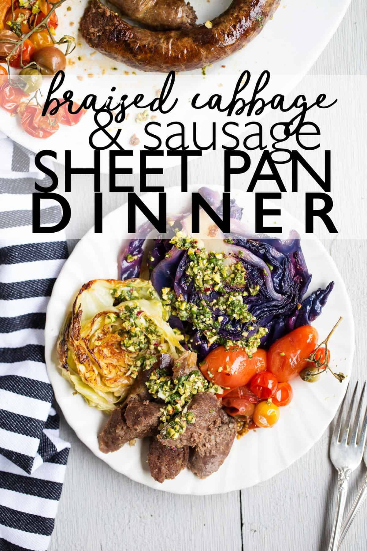 Braised cabbage and sausage sheet pan meal is an easy delicious and quick dinner recipe!