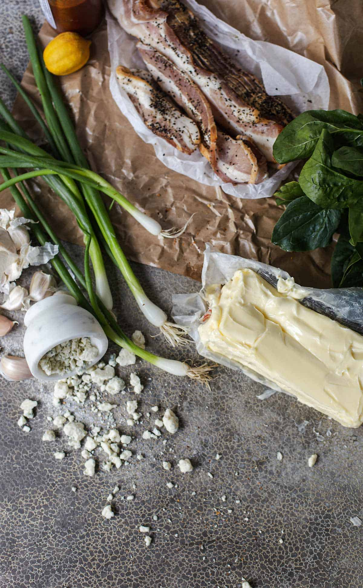 Bacon Blue Cheese Compound Butter recipe ingredients