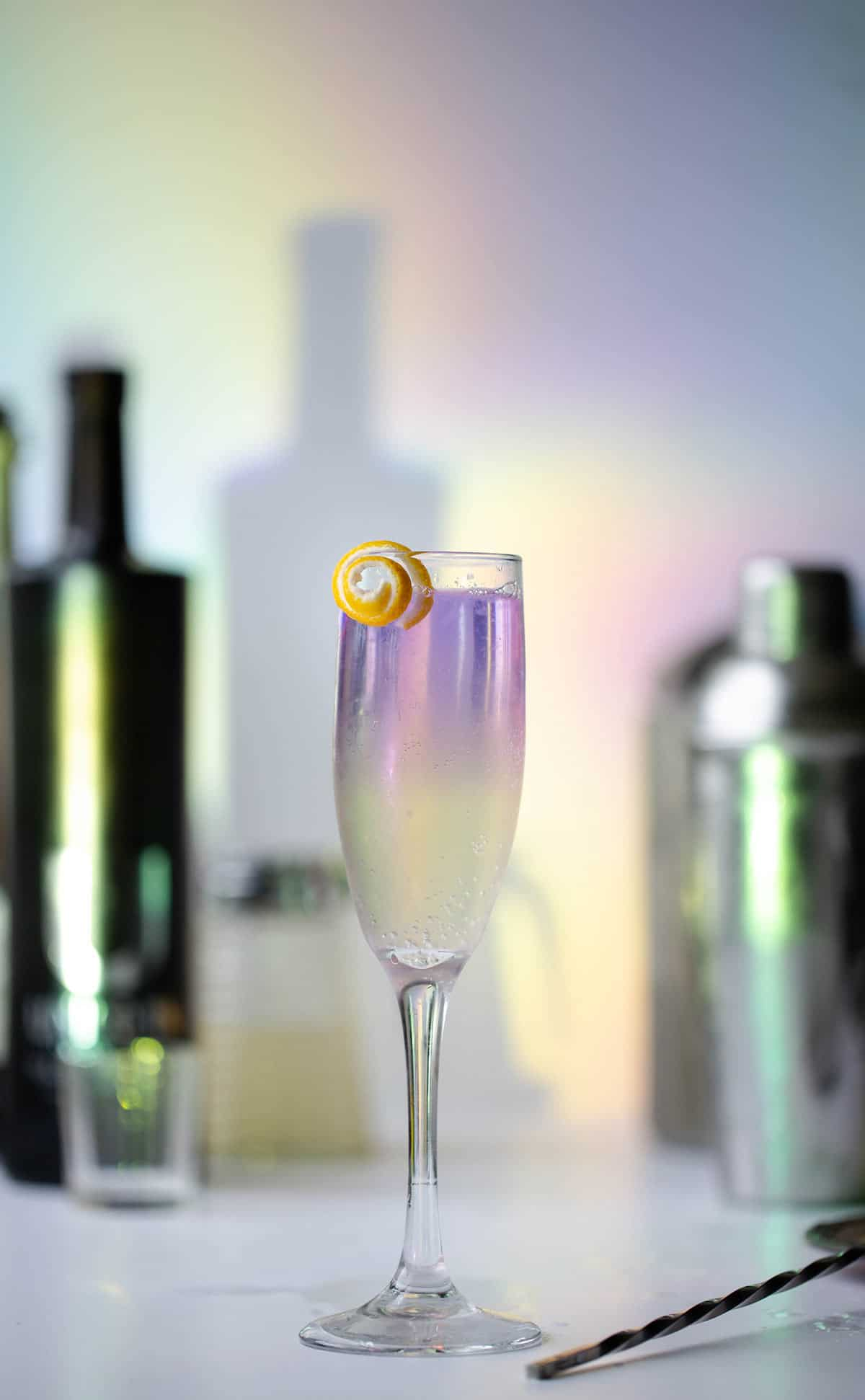 Unicorn French 75 cocktails are a variation of the classic French 75 cocktail made with naturally color changing Unicorn Vodka™. French 75 recipe variations | Champagne cocktail | French 76
