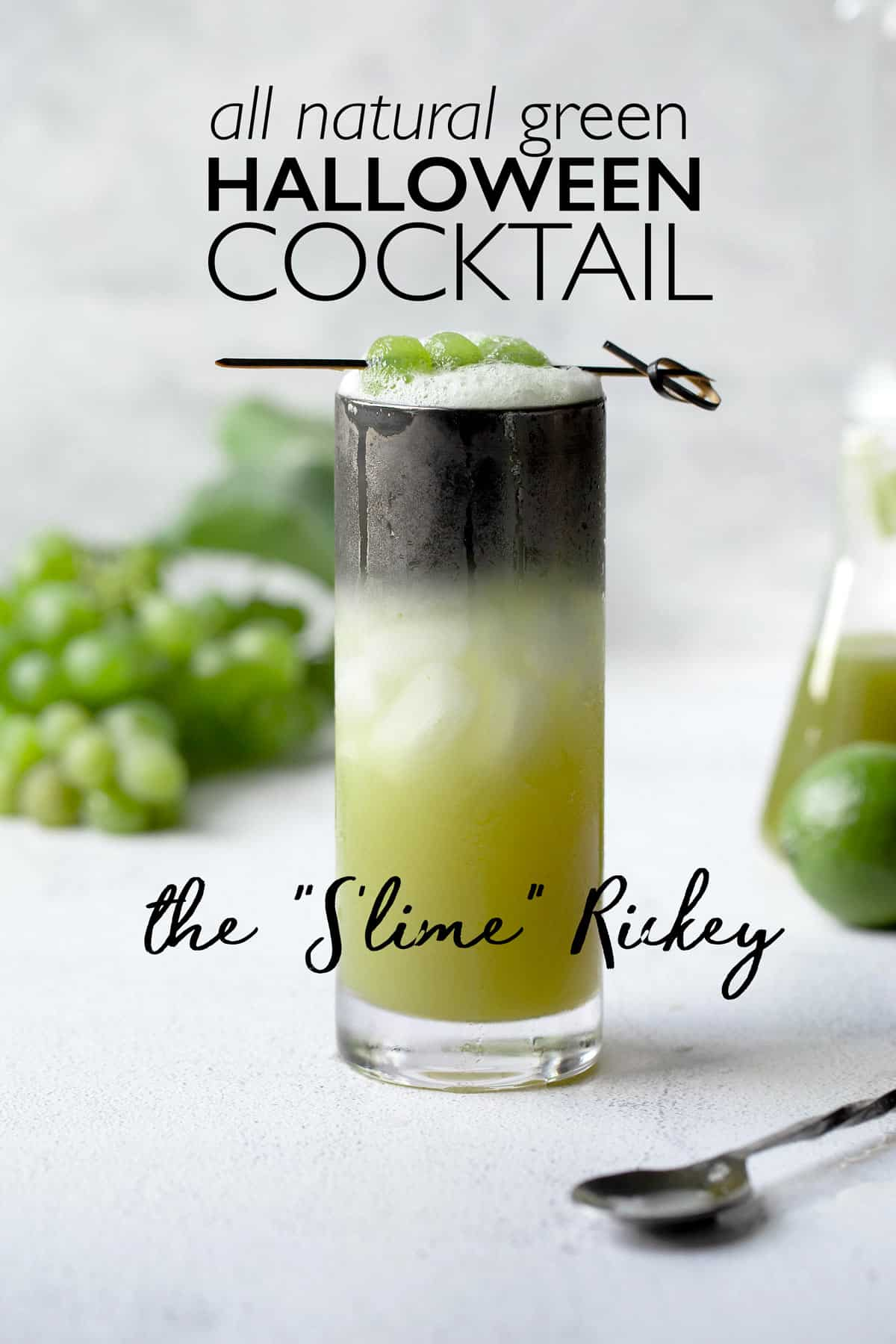 Slime Rickey's are an all natural green colored update to the classic gin rickey that's perfect served as a halloween cocktail! green cocktail | gin rickey recipe | Halloween cocktails
